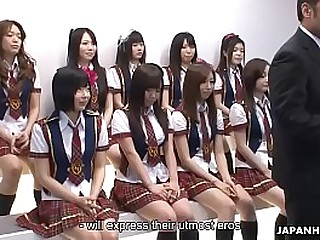 Japanese schoolgirls do some inclement stuff not later than the idol competition